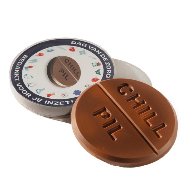 Chocolade tablet pil munt op maat logo