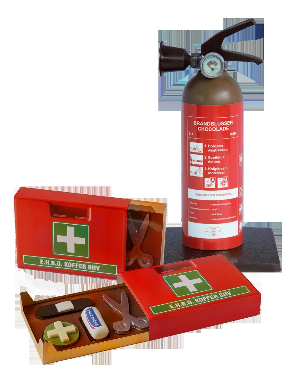 EHBO koffer brandblusser van chocolade geschenk medisch zorg